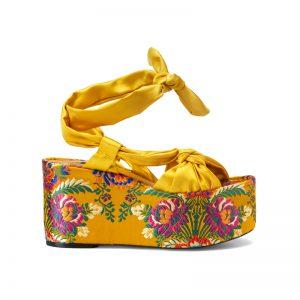 Retro-Sandale mit Blumen
