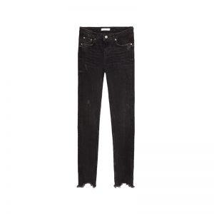 Schwarze Jeans mit Fransen