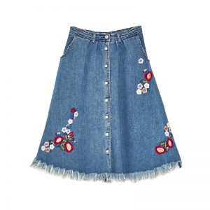 Jeans Rock mit Blumen-Stickereien