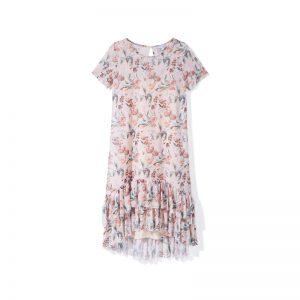 Volant-Kleid mit Blumenmuster
