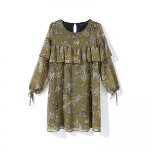 Grünes Volant-Kleid mit Blumenmuster