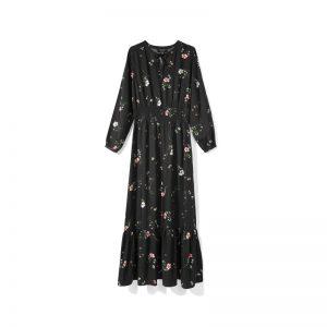 Langes schwarzes Kleid mit Blumenmuster