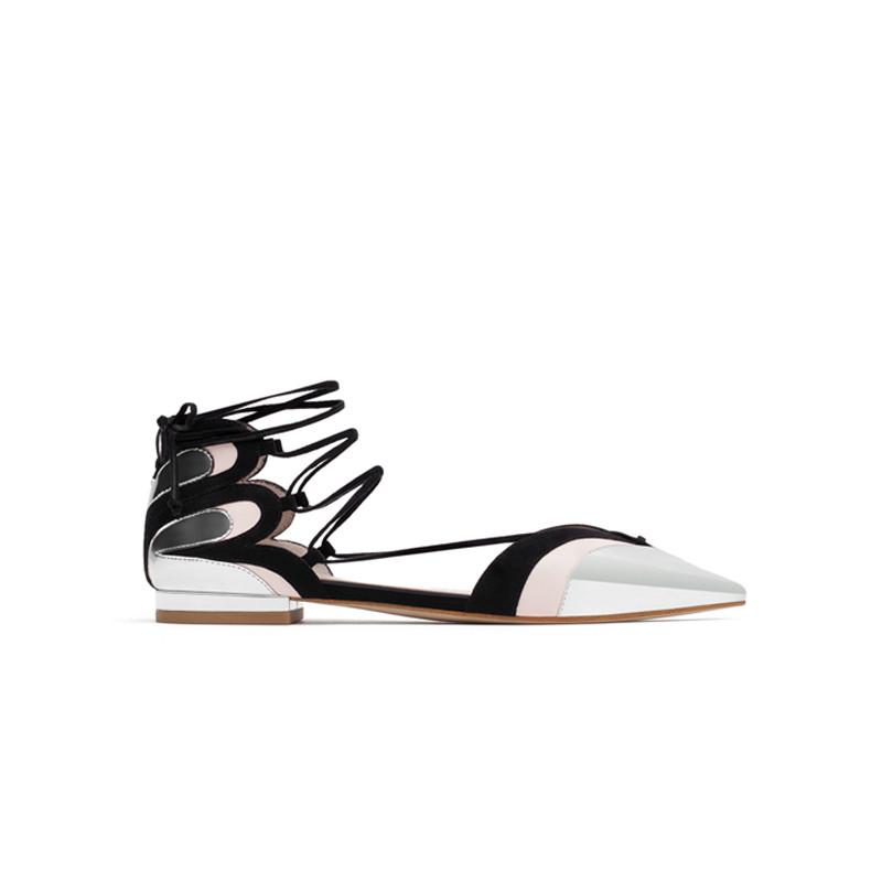 Ballerinas Metallic zum Schnüren von Zara