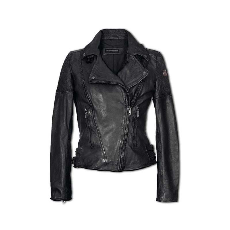 Klassische Lederjacke in schwarz