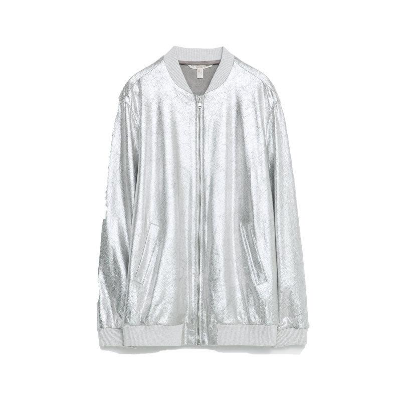 Bomberjacke von Zara in Silber