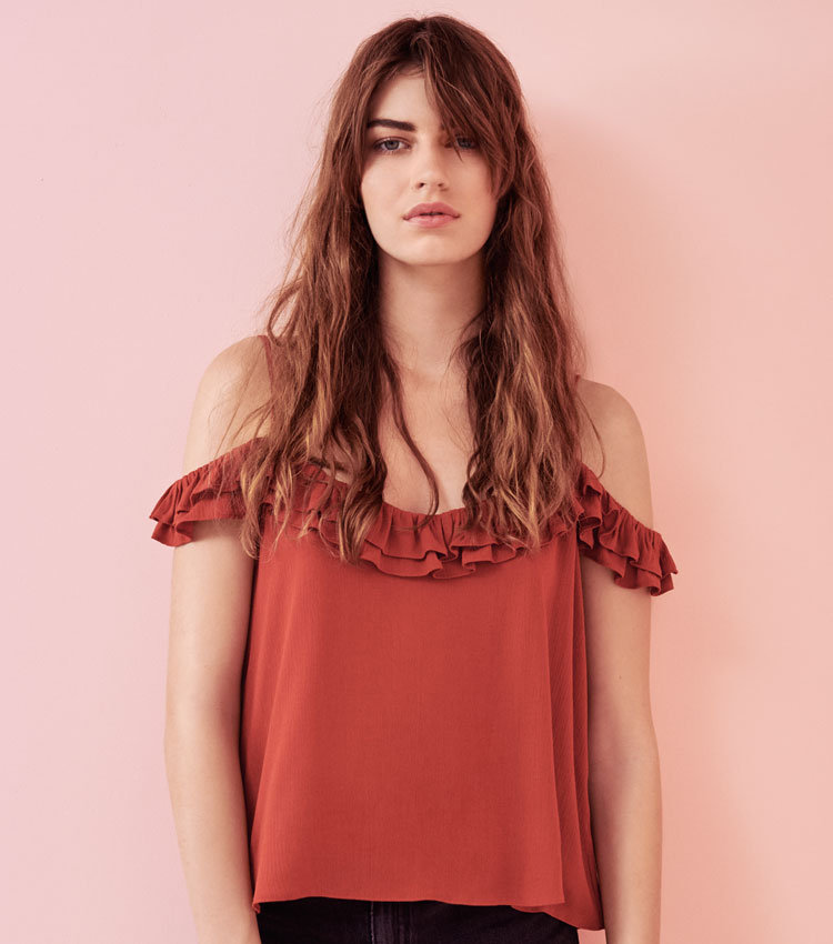 Rote Carmen-Bluse von Topshop
