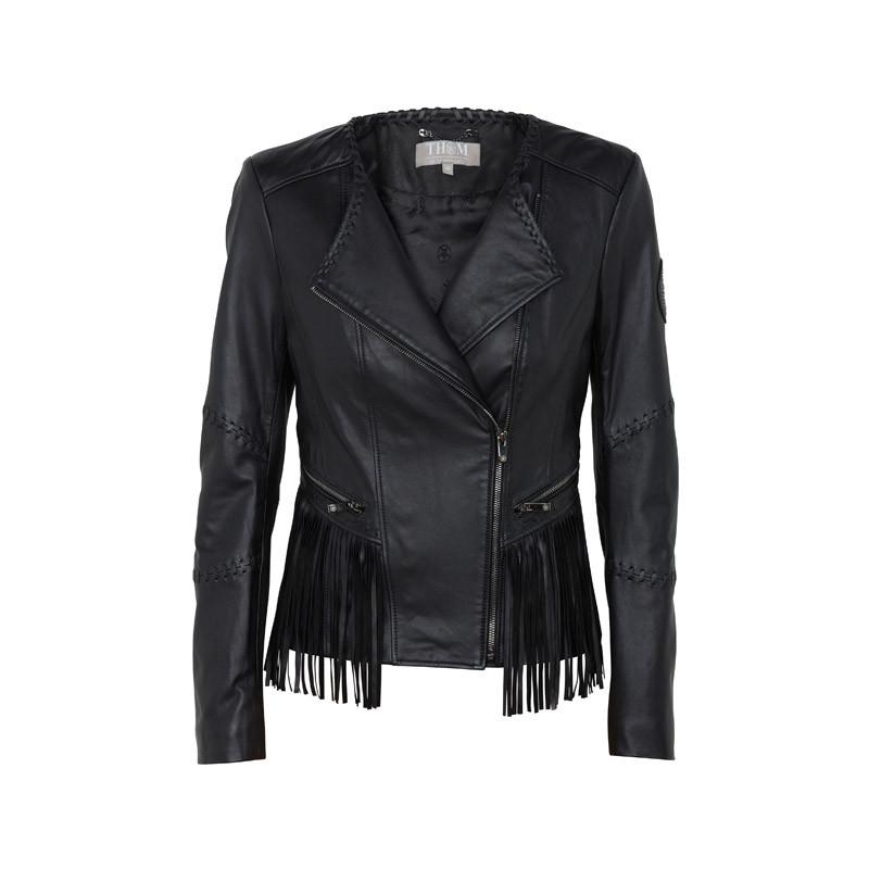 Lederjacke in schwarz mit Fransen