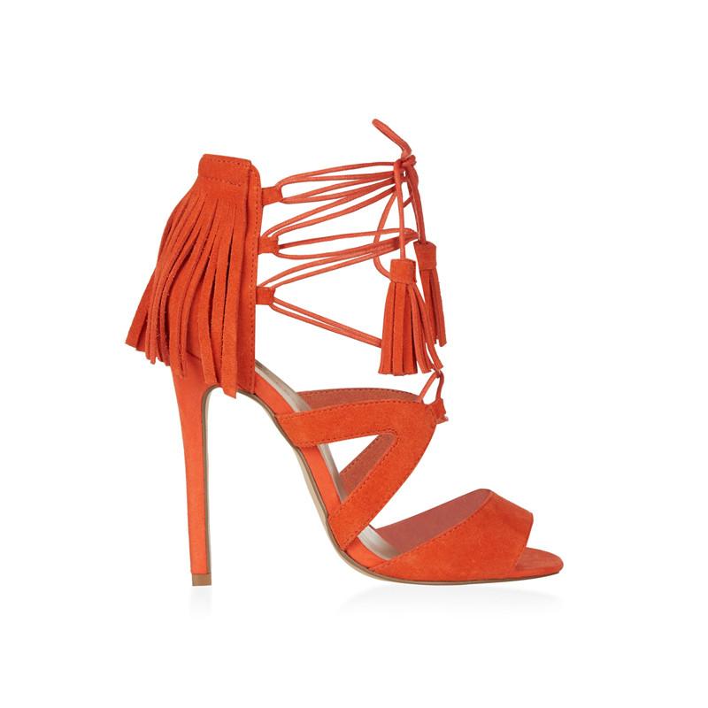 High Heels aus Wildleder mit Fransen und Schnürung in Orange