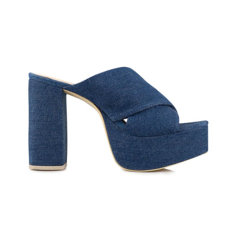 Plattform Mules in Jeans von NLY Shoes
