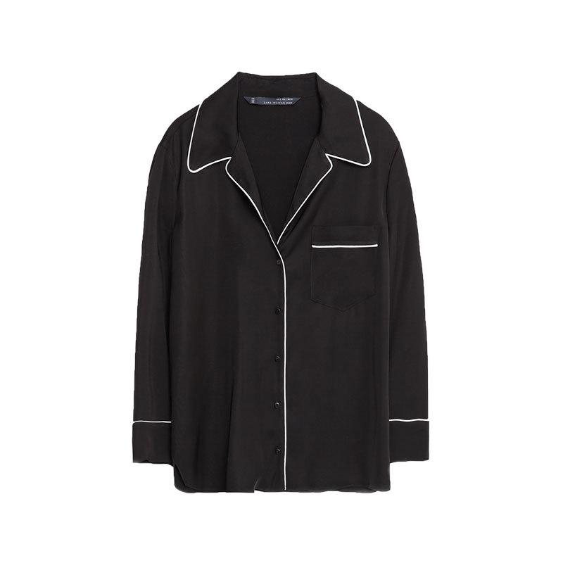 Schwarze Pyjama-Bluse von Zara