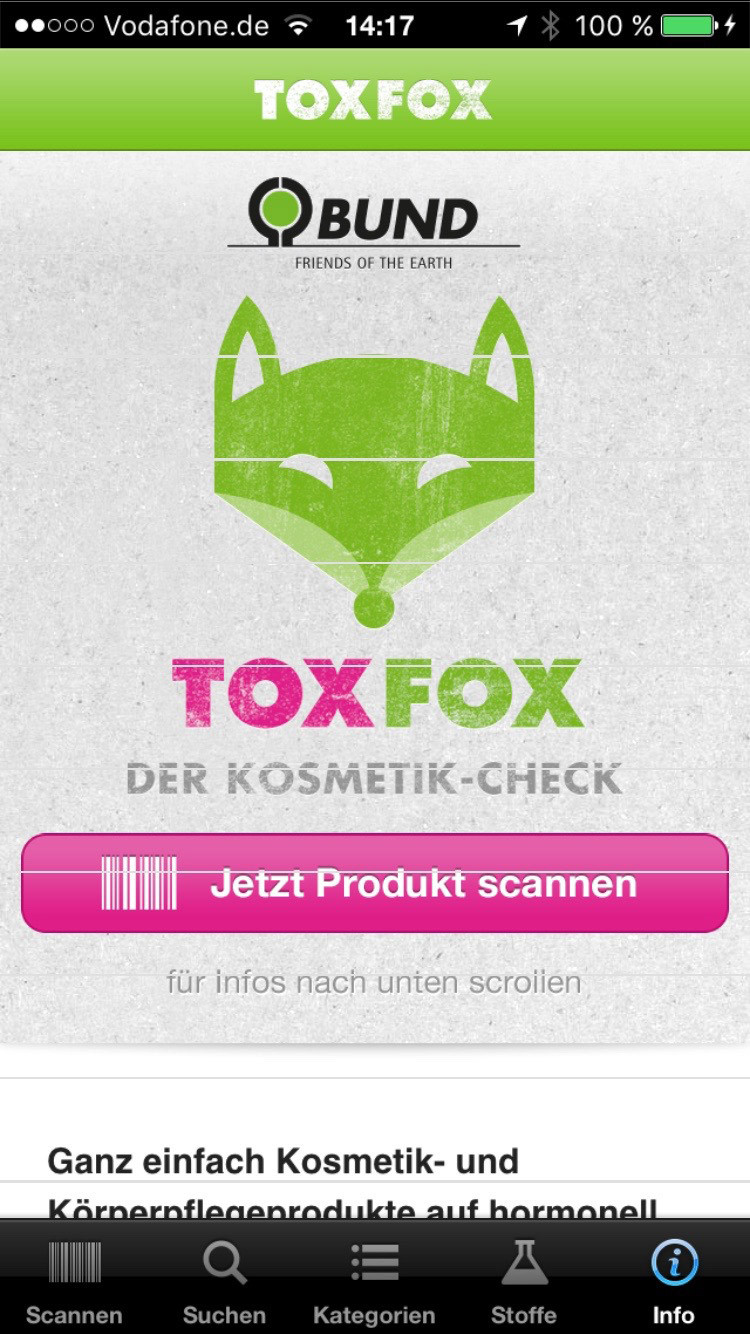 toxfox die app f r schlechte inhaltsstoffe beautypunk. Black Bedroom Furniture Sets. Home Design Ideas
