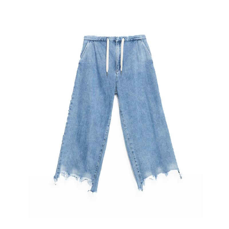 Weite Jeans mit Fransen und Schnürbund