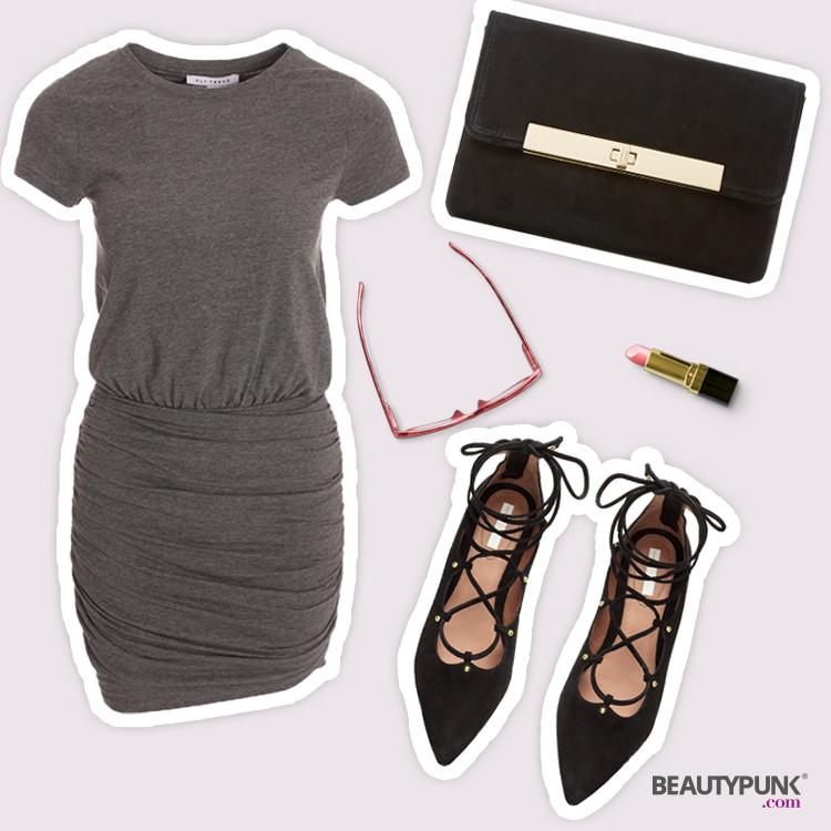 Grauen Shirt-Kleid mit gerafftem Rock © NLY Trend ca. 30 € über nelly.de | Lace-up Ballerinas © H&M ca. 40 €| Schwarze Clutch ©Dune London ca. 75 €