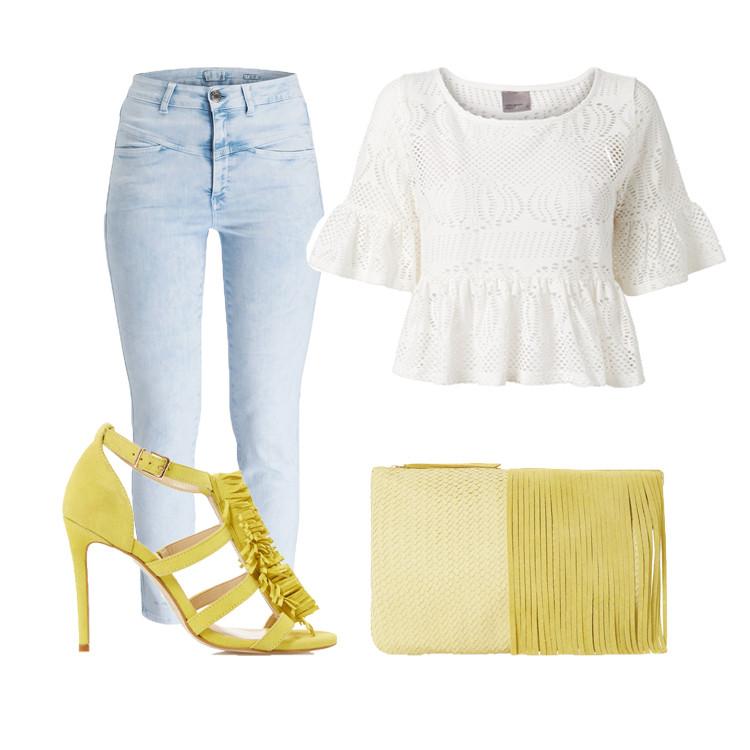 Outfit Weiß-Gelb