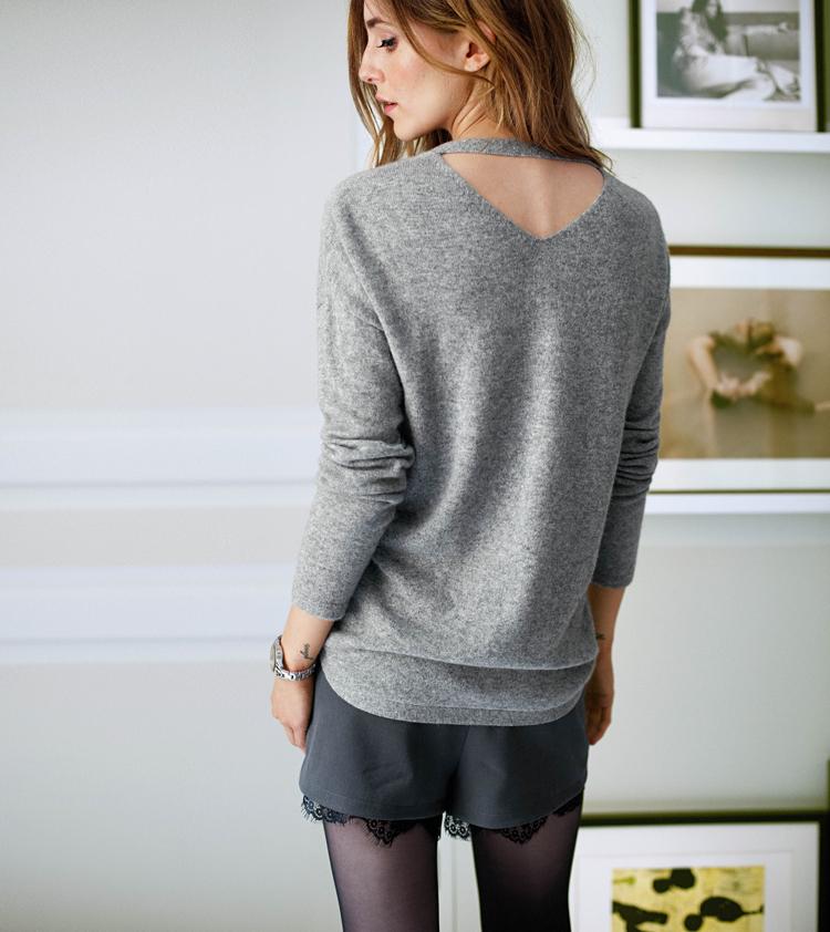 Cashmere Pullover in grau