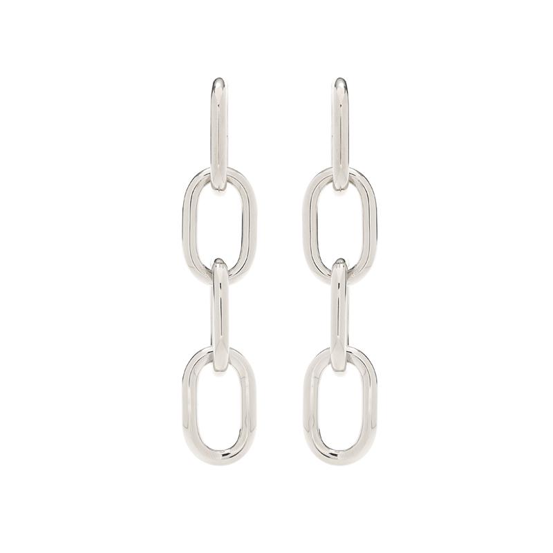Silberfarbene Ohrringe in Gliederketten-Optik