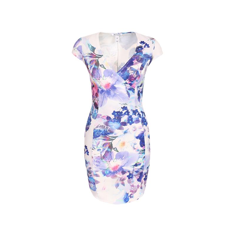 Kleid mit Aquarell-Blumenmuster