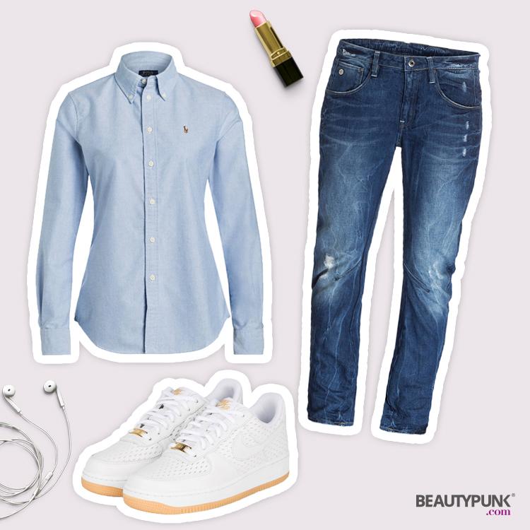 Hellblaues Hemd Boyfriend-Look