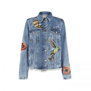 Jeans Jacke mit Stickereien