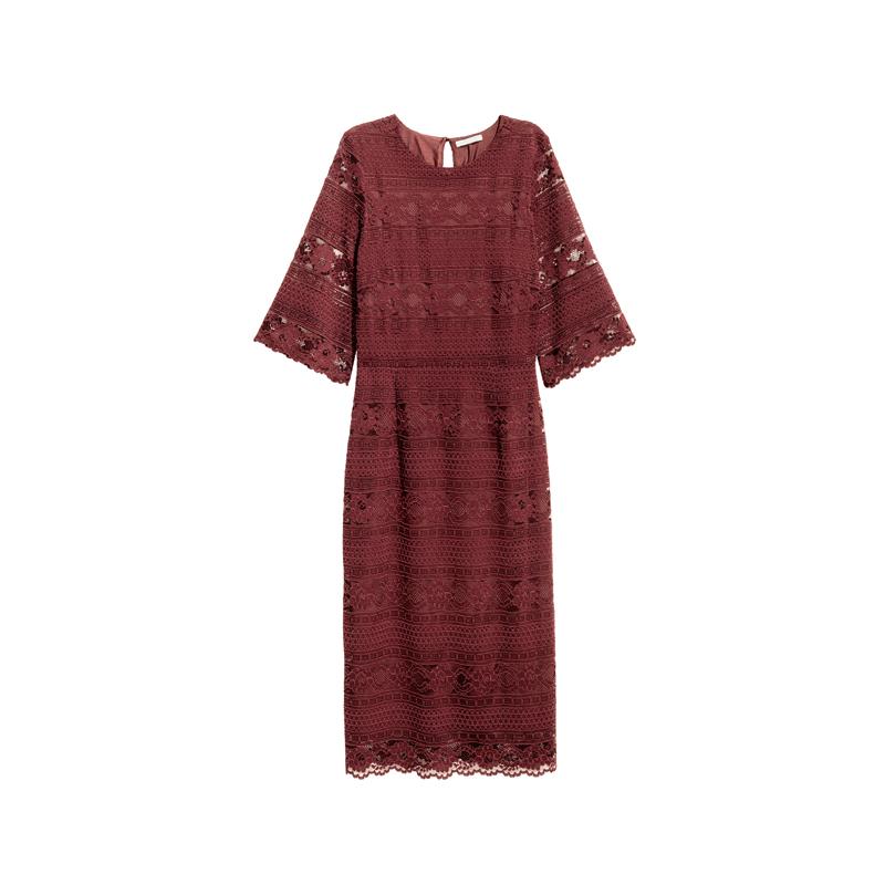 Rotes Kleid mit Spitze von H&M