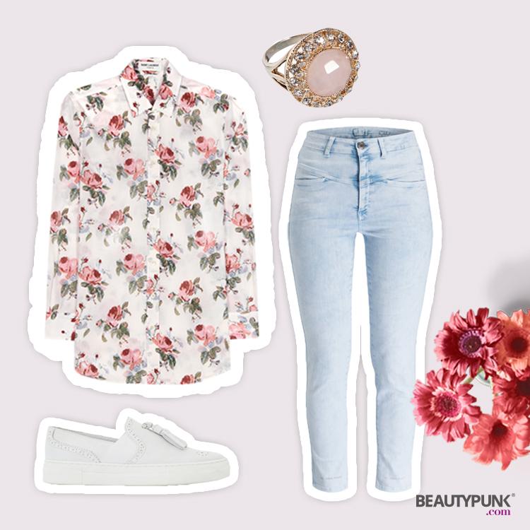 bluse mit rosenmuster