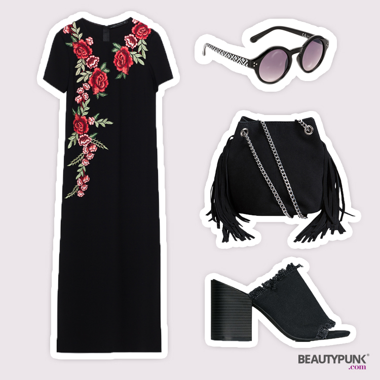 Kleid © Zara um 60 €| Mules © NLY Shoes um 24 € über nelly.de | Tasche © Pieces um 60 €über nelly.de | Sonnenbrille ©Bijou Brigitte um 10 €