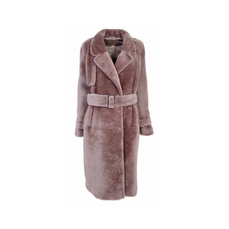 Mantel in Altrosa mit Fell