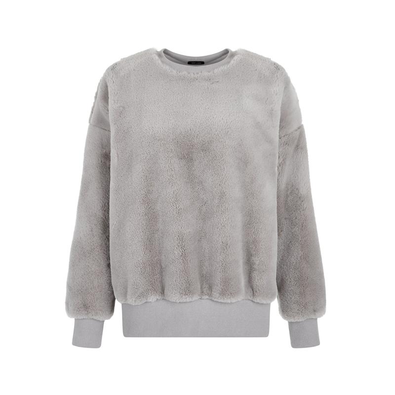 Graues Sweatshirt mit Fell