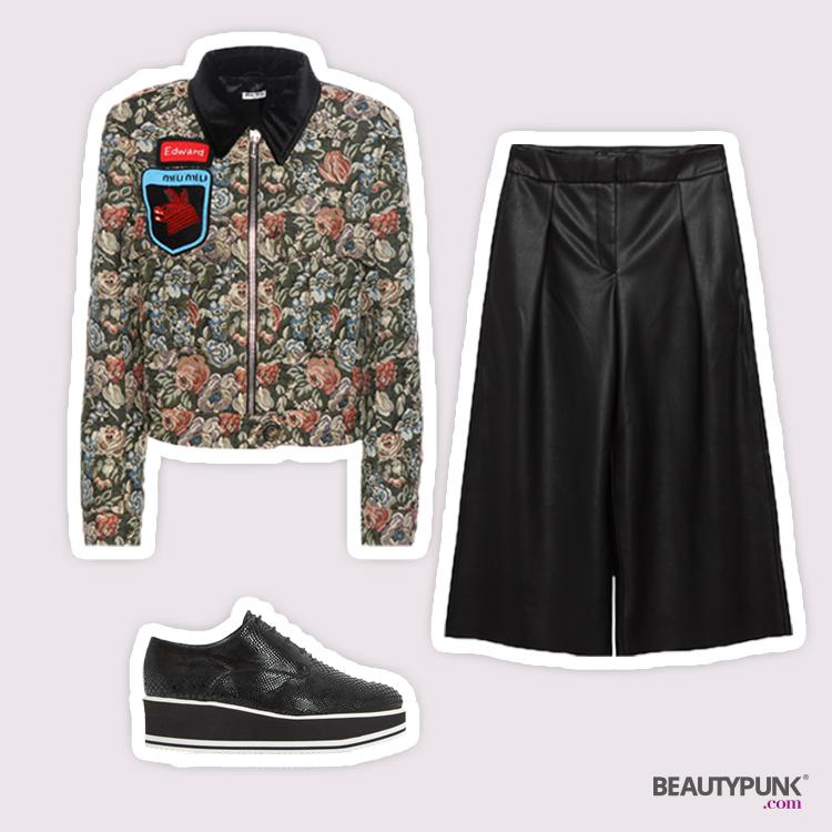 Jacquard-Jacke mit Applikationen © Miu Miu | Culottes aus Lederimitat © Zara | Plateau Schnürschuhe © Dune London