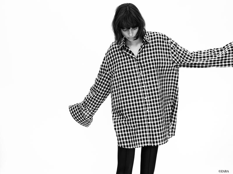 Karierte Oversize-Bluse von ZARA