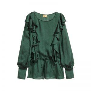 Grüne Bluse mit Volants