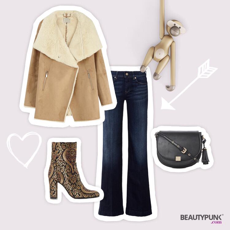 Outfit mit Lammfelljacke