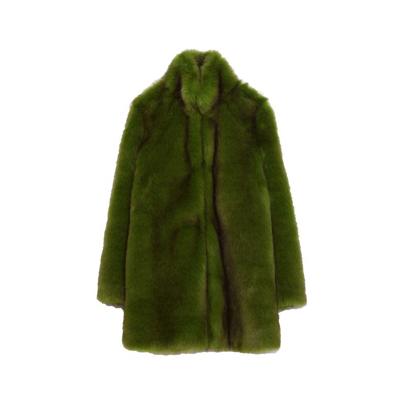 Fake fur mantel grun