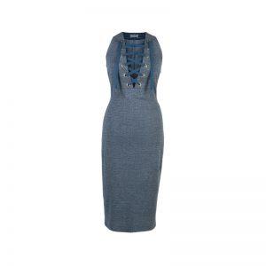 Blaues Kleid mit Schnürungen