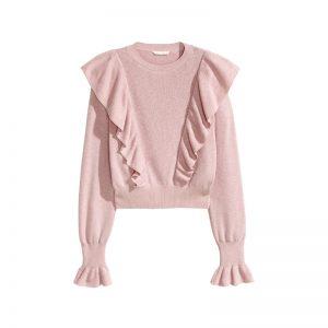 Pullover in Rosa mit Rüschen