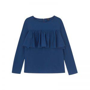 Blaues Shirt mit Rüschen