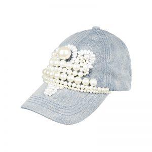 Cap mit Perlen
