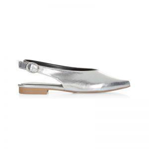 Silberne V-Neck Schuhe
