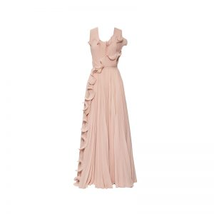 Kleid in Nude mit Volants