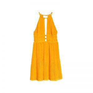 Gelbes Kleid mit Rückenausschnitt