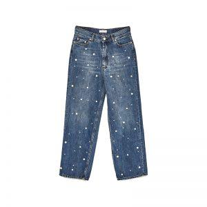 Weite Jeans mit Perlen