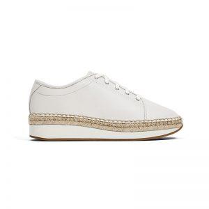 Weiße Sneaker mit Bastsohle
