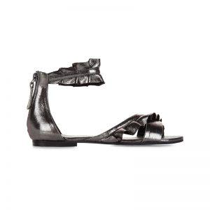 Metallic-Sandale mit Rüschen