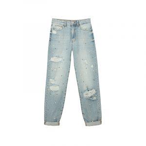 Destroyed Jeans mit Perlen