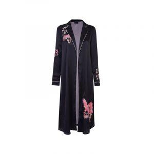 Schwarzer Kimono-Mantel