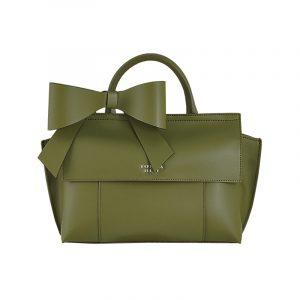 Grüne Tasche mit Schleife