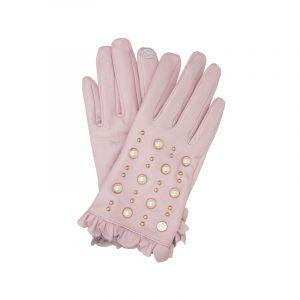 Rosa Handschuhe mit Perlen