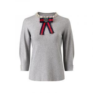 Graues Sweatshirt mit Schleife und Perlen