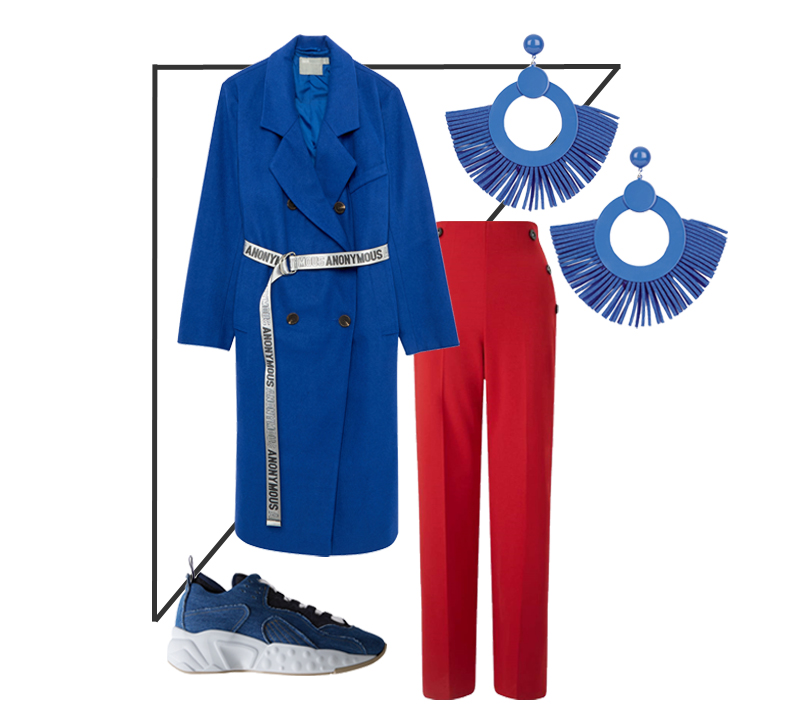 Color Blocking Blau und Rot