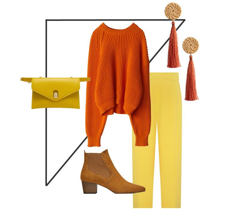 Color Blocking in Orange und Gelb